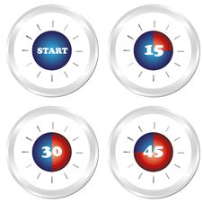 Free Timer. Set Of Four Clock. Stock Images - 19252214