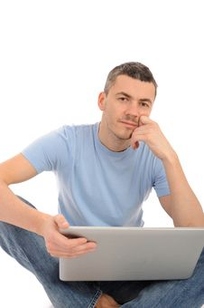 Free Young Male Working On Laptop Computer Royalty Free Stock Image - 19253496