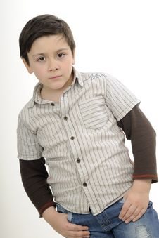 Free Serious Boy Posing Stock Image - 19253621