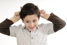 Boy Showing With Fingers Stock Image