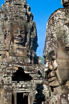 Smiling Faces In Wat Bayon In Angkor Wat Stock Photography