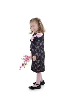Pretty Little Girl In Black Elegant Party Dress Royalty Free Stock Photo