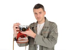 Free Professional Photographer With Film Camera Royalty Free Stock Images - 19254019