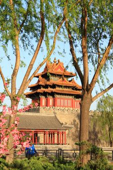 The Corner Tower Of The Forbidden City Stock Photo