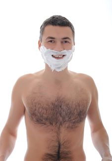 Young Handsome Male Shaving Face Beard . Isolated Stock Photos