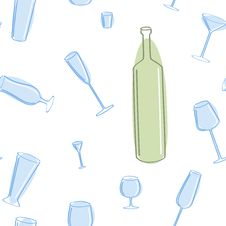 Seamless Of Blue Glass And Green Bottle. Royalty Free Stock Photography