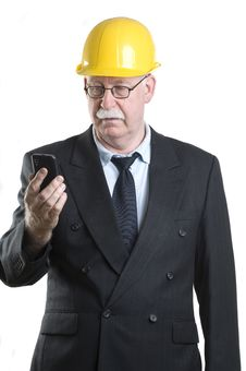Contractor Isolated On Phone Stock Photo