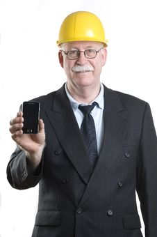 Contractor Isolated On Phone Stock Photography