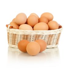 Eggs In Basket Isolated On White Royalty Free Stock Photo