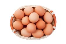 Eggs In Basket Isolated On White Stock Photography