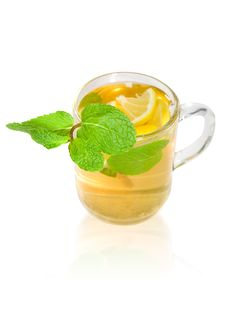 Free Green Tea With Lemon And Mint Royalty Free Stock Photo - 19255635