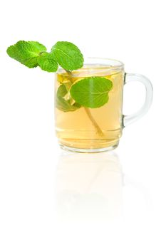 Free Green Tea With Lemon And Mint Royalty Free Stock Image - 19255636