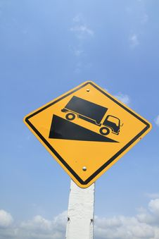 Free Downhill Truck Sign Stock Image - 19257801