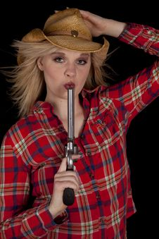 Free Cowgirl Blowing On Gun Royalty Free Stock Photos - 19258558
