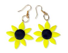 Free Earrings-sunflower Of Plastic Clay Stock Photography - 19259532