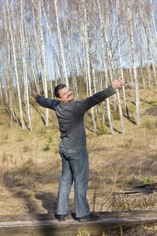 Man In Spring Birch Grove Royalty Free Stock Images