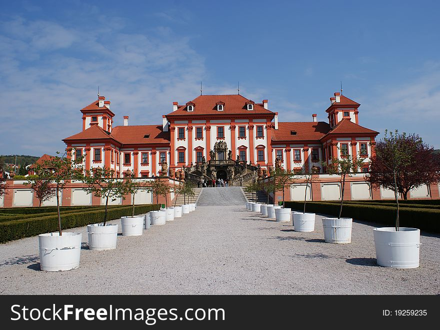 Panormaic view of Troja castle in Prague