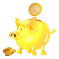 Free Vector Pig-piggy Bank With Gold Coins Royalty Free Stock Photo - 19268135