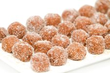 Free Chocolate Balls Covered With Sugar On A Plate Stock Photos - 19260633