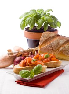 Free Bruschetta With Ingredients Stock Photo - 19261120