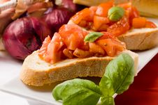 Free Bruschetta With Ingredients Stock Photo - 19261140