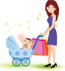 Free Mother And Baby Shopping Royalty Free Stock Images - 19262049