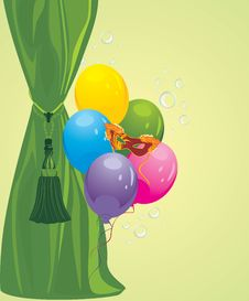 Green Curtain And Masquerade Mask With Balloons Royalty Free Stock Images