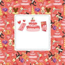 Free Cartoon Wedding Card Royalty Free Stock Image - 19262646
