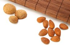 Free Almonds With Bamboo Mat Stock Photo - 19262700