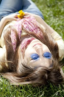 Free Girl In Blue Glasses At The Park. Stock Photography - 19263042