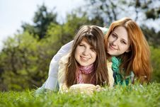 Free Girlfriends At Green Grass In The Park Royalty Free Stock Image - 19263056