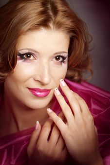 Woman With Bright Makeup Stock Images