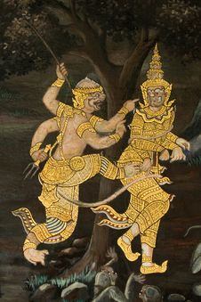 Free Art Thai Painting On Wall In Temple Thai Stock Images - 19263744