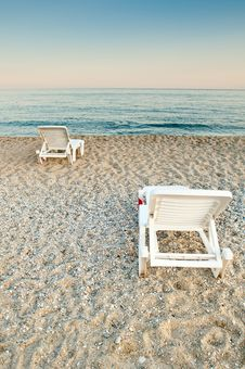Free Sunbeds On A Beach Stock Photos - 19264353