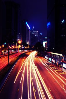 Free Busy Traffic At Night - Hong Kong Royalty Free Stock Image - 19264756