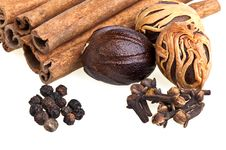 Free Nutmeg, Cinnamon, Cloves And Pepper Royalty Free Stock Photo - 19264805