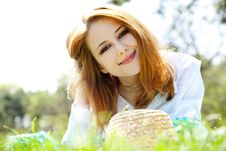 Free Red-haired Girl With Hat At The Park. Stock Photo - 19264860