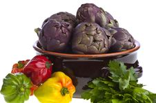 Free Small Exotic Peppers And Artichokes Stock Photography - 19264862