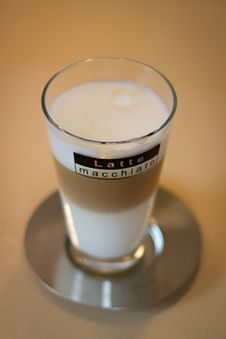 Latte Macchiato On Saucer Stock Image