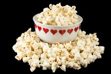 Free Popcorn In A Heart Bowl Stock Image - 19266121