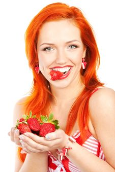 Free Woman With Strawberry Royalty Free Stock Photos - 19266138