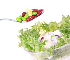 Freshness Lettuce Bean And Corn Salad Isolated Stock Photo