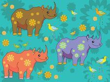 Happy Cartoon Rhinos And Birds Stock Photos