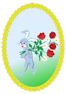 Hare With A Bouquet Stock Photo