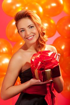 Free Woman With Gift Stock Photo - 19267560