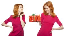 Free Two Girls, One Of Them With Presetn Box. Royalty Free Stock Photos - 19267598