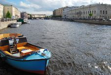 Boat On The River Neva Royalty Free Stock Images