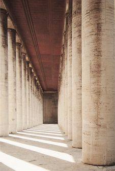 Colonnade With Shadows And Light Stock Photo