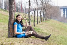Free Girl Reading Book In Spring Park Royalty Free Stock Photo - 19269855
