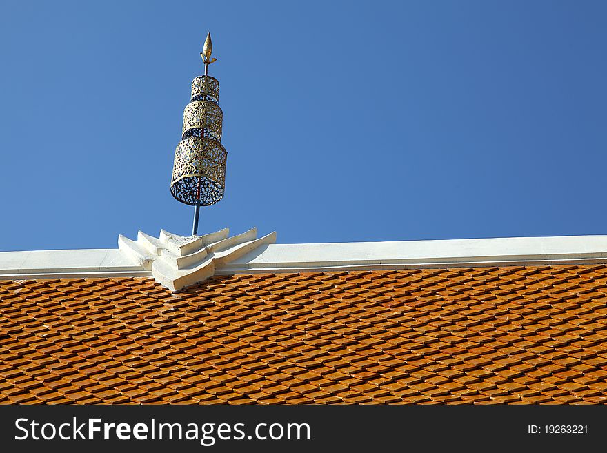 Thai Temple Roof with crown in Northern Style